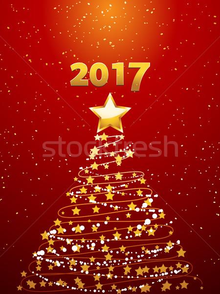 Noel ağacı altın Yıldız süslemeleri kırmızı Stok fotoğraf © elaine