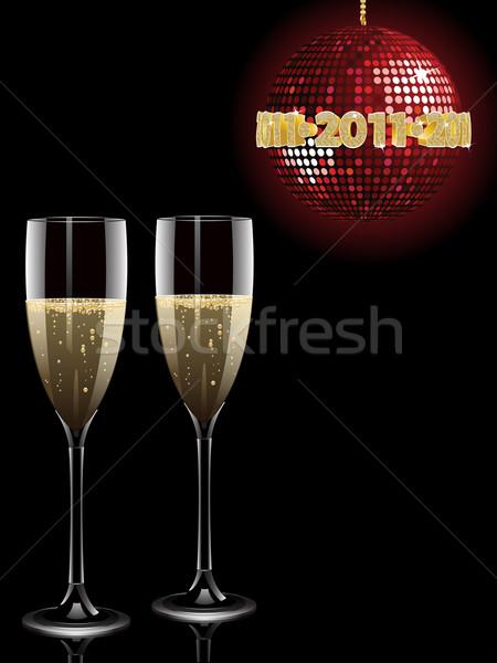Champagne 2011 boule disco verres rouge au-dessus Photo stock © elaine