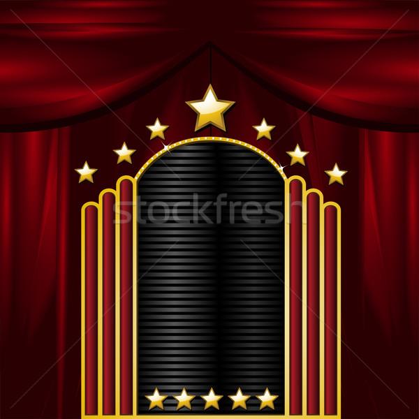 Teatro signo cortinas fondo oro cartel Foto stock © elaine