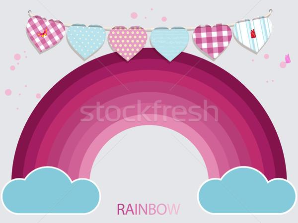 çocuklar pembe gökkuşağı mavi bulutlar kalp Stok fotoğraf © elaine