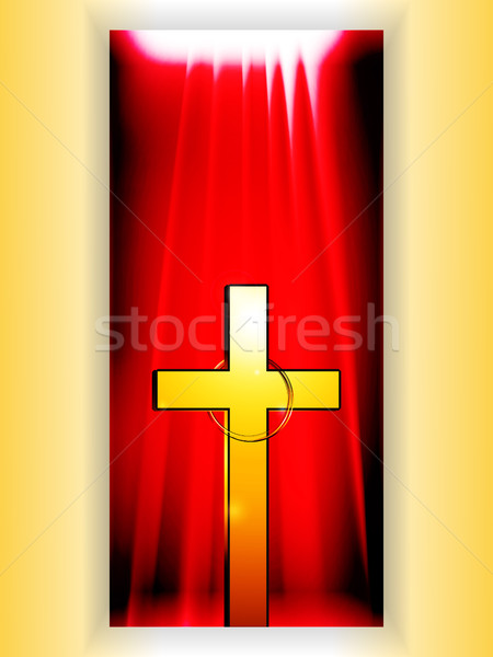 Golden Cross with ring over reb banner Stock photo © elaine