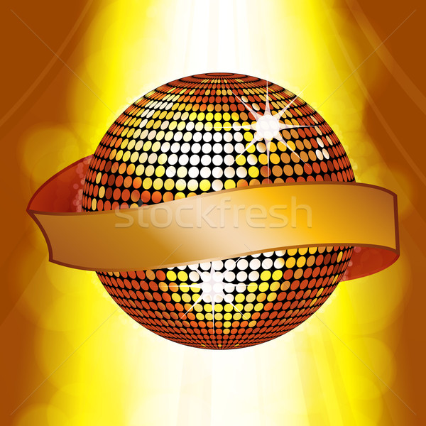 Disco ball with banner on glowing background Stock photo © elaine