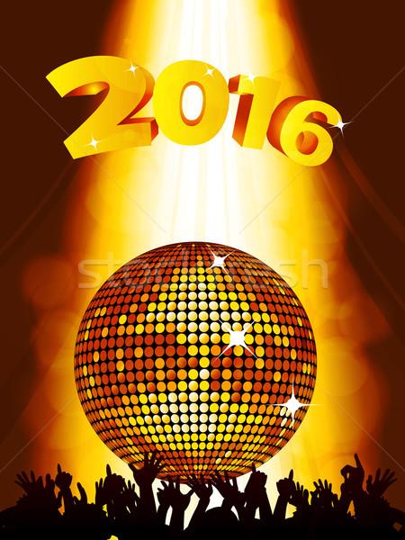 új évek buli diszkógömb tömeg 2016 Stock fotó © elaine