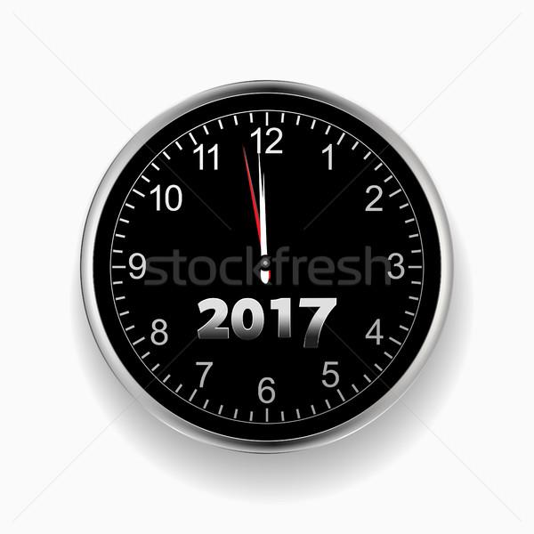 2017 nearly midnight black and silver clock Stock photo © elaine