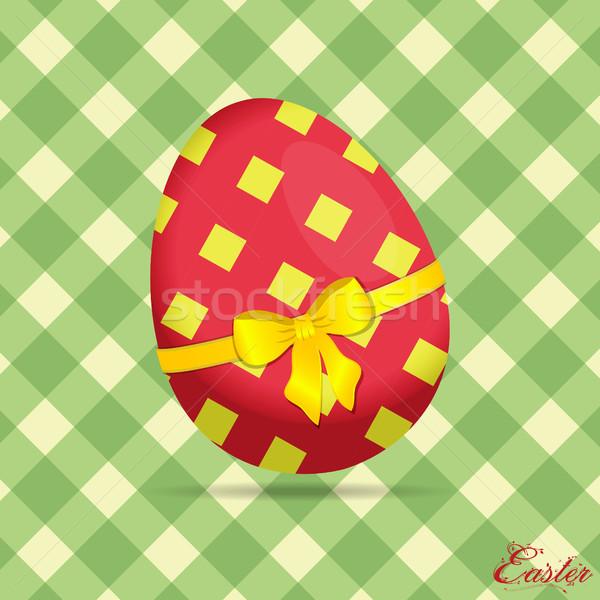 œuf de Pâques vert texte crème floral Photo stock © elaine