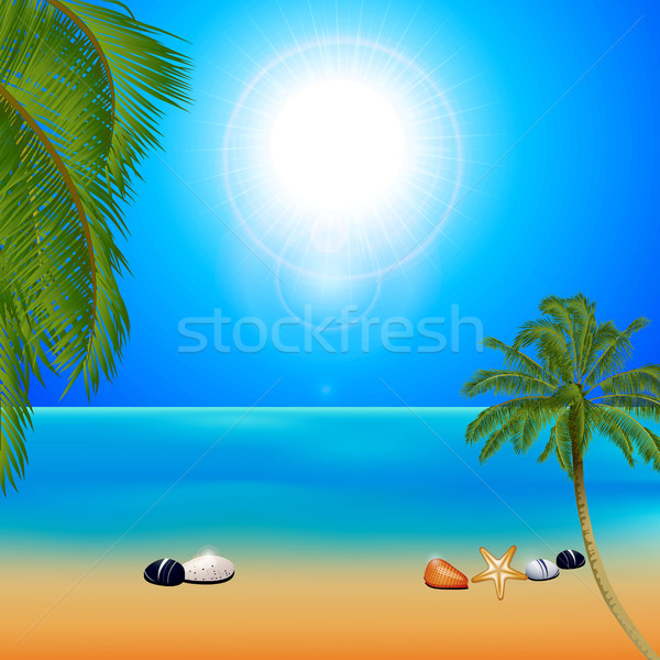 Tropical sunny beach with palm trees Stock photo © elaine