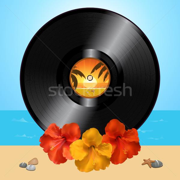 Vinyle record disque hibiscus été 3d illustration Photo stock © elaine