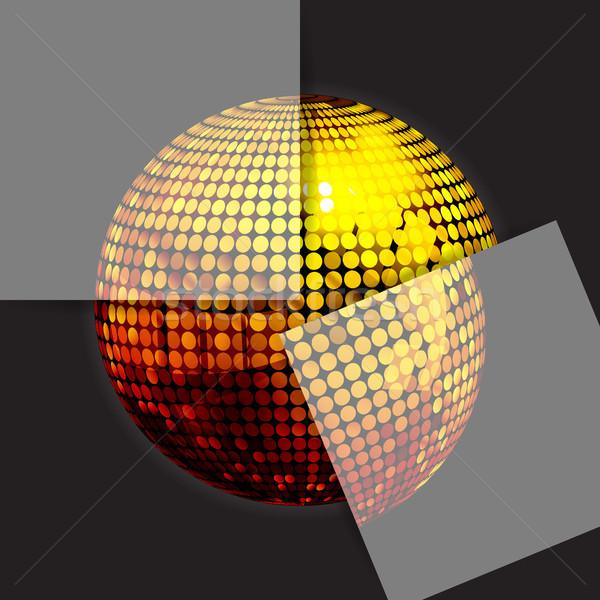 Złoty disco ball czarny dwa 3d ilustracji puzzle Zdjęcia stock © elaine