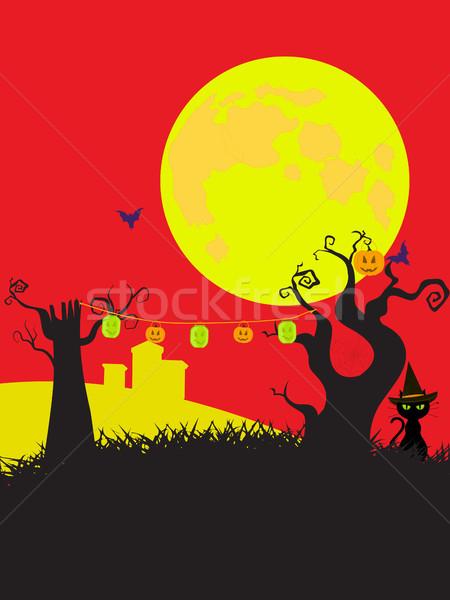 Halloween cortoons style black yellow and red background Stock photo © elaine