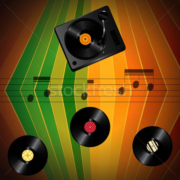 Música vintage notas vinilo naranja Foto stock © elaine