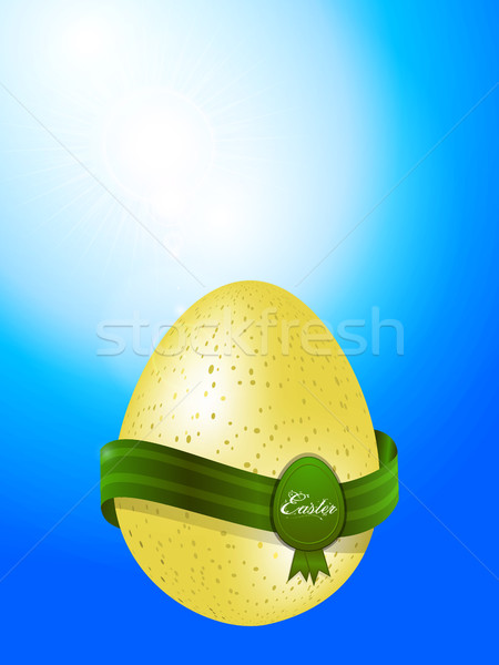 Easter egg with banner on blue sky background Stock photo © elaine