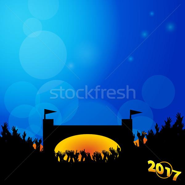 Festival di musica fase folla blu ardente silhouette Foto d'archivio © elaine