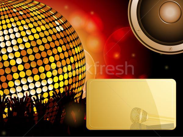 Disco ball menigte spreker bericht paneel partij Stockfoto © elaine