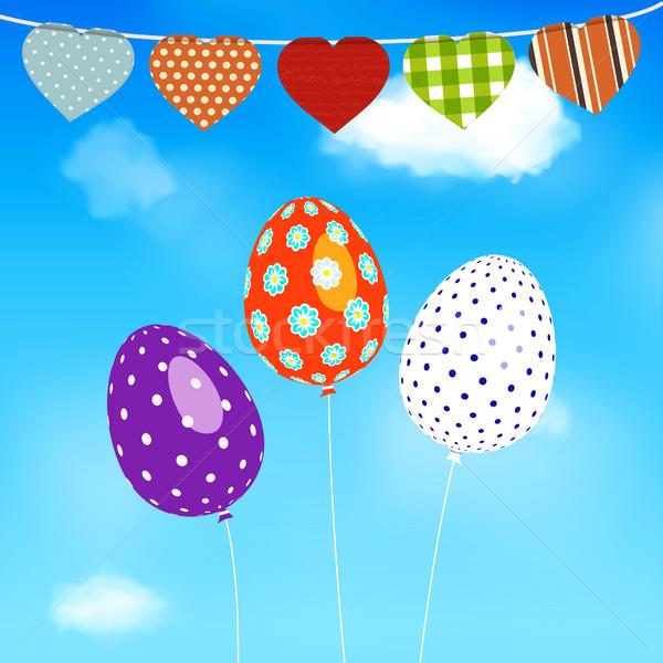 Easter Eggs balony pływające Błękitne niebo serca Zdjęcia stock © elaine
