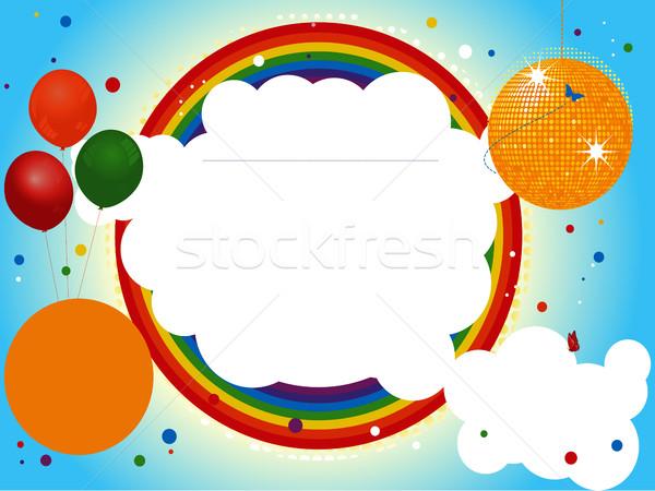 子供 パーティ ディスコボール 風船 虹 紙吹雪 ストックフォト © elaine