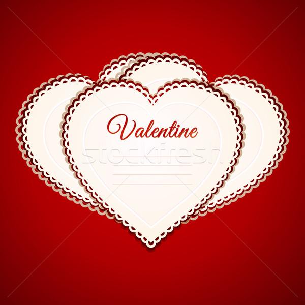 Валентин сердце бумаги карт красный Сток-фото © elaine