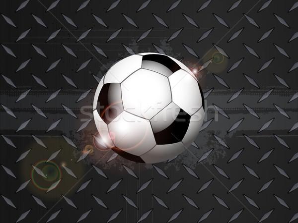 Soccer football grunge on black metallic plate Stock photo © elaine
