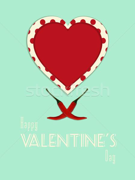 Valentin nap klasszikus fűszeres portré szív kettő Stock fotó © elaine