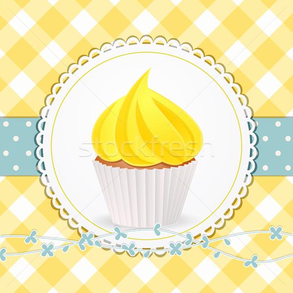 Minitorta citromsárga cukormáz körkörös címke kék Stock fotó © elaine