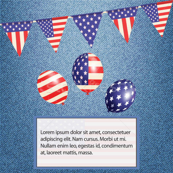 American bunting and balloons on denim background with text Stock photo © elaine