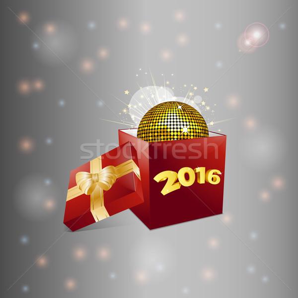 Christmas szkatułce disco ball czerwony polu 2016 Zdjęcia stock © elaine