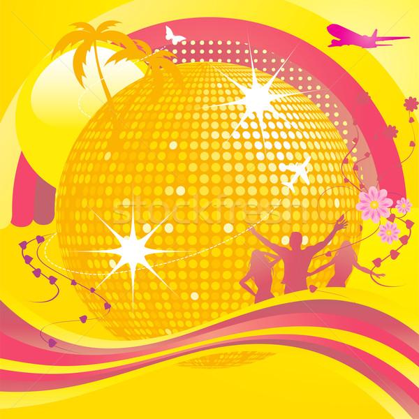 Сток-фото: аннотация · Disco · Ball · вечеринка · монтаж · силуэта · танцоры