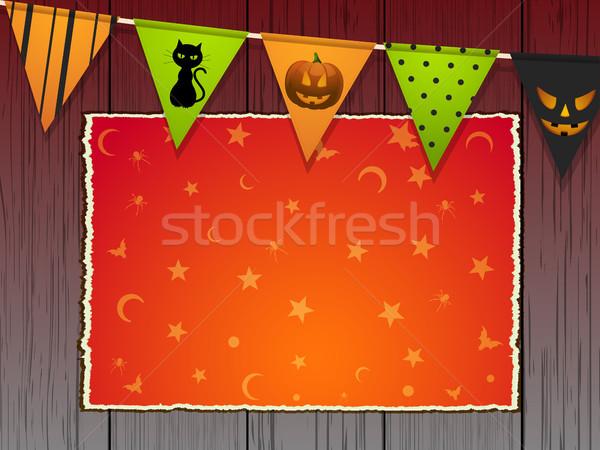 Halloween panneau bois espace de copie étoiles lune Photo stock © elaine