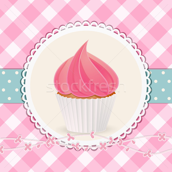cupcake with pink icing on pink gingham background Stock photo © elaine