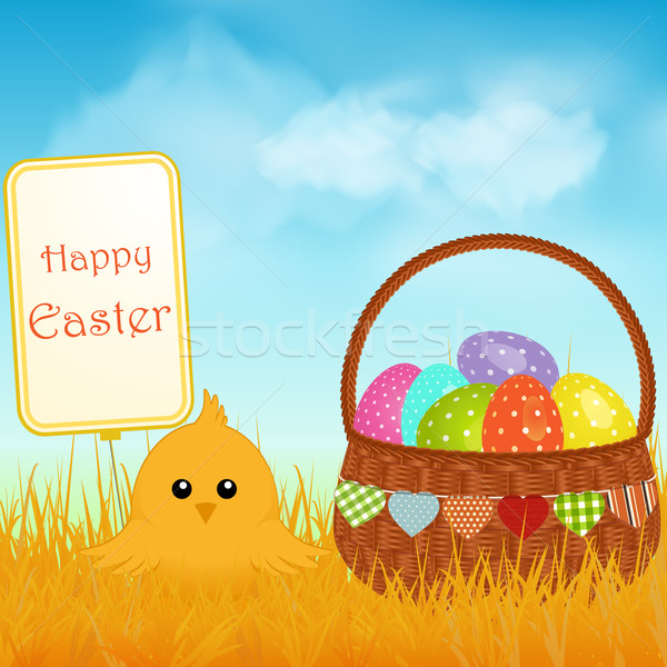 Easter chick and sign with basket and eggs background Stock photo © elaine