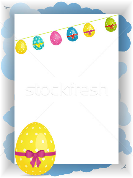Easter portrait panel copy space with bunting and egg Stock photo © elaine