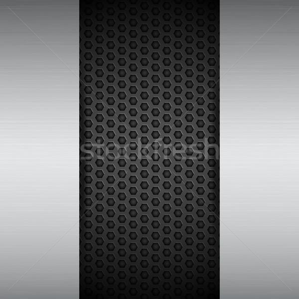 brushed metal panels on black mesh Stock photo © elaine