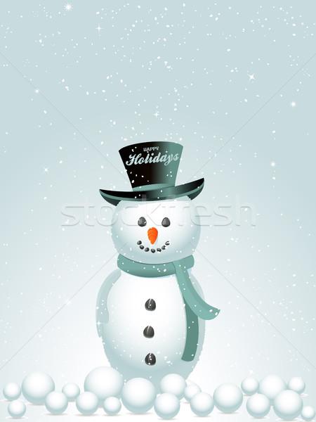 Gelukkig vakantie sneeuw man hoed tekst Stockfoto © elaine