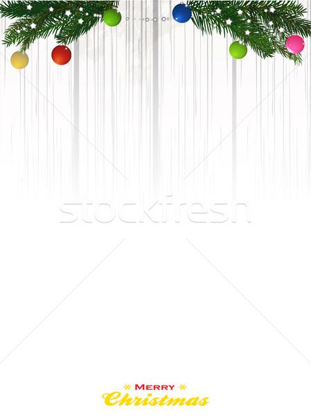 Kopia przestrzeń biały drewna wesoły christmas sosna Zdjęcia stock © elaine