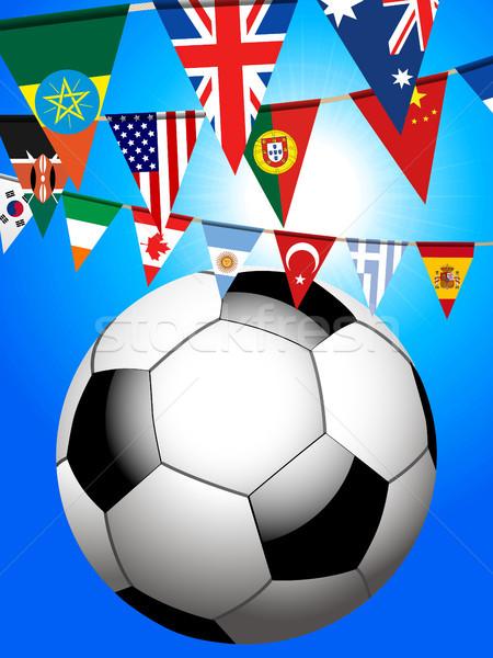 サッカー サッカー 世界 3次元の図 サッカーボール フラグ ストックフォト © elaine