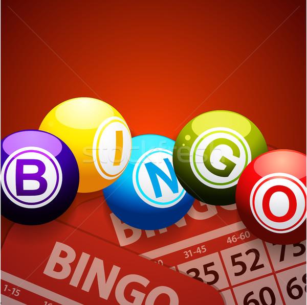 Bingo kaarten Rood 3d illustration achtergrond Stockfoto © elaine