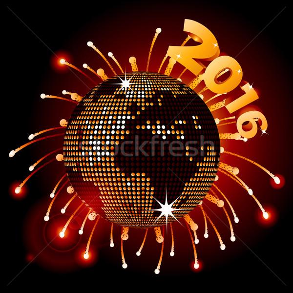 Disco ball wereldkaart 2016 vuurwerk vieren nieuwe Stockfoto © elaine