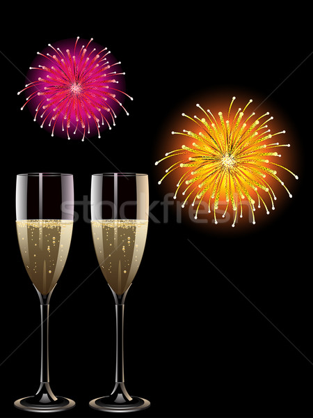 Champagne feux d'artifice deux verres écran Photo stock © elaine