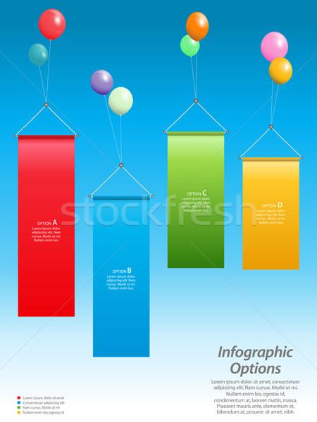 ストックフォト: インフォグラフィック · バナー · 風船 · 青空