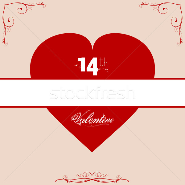 14th Valentine red heart with floral frame Stock photo © elaine