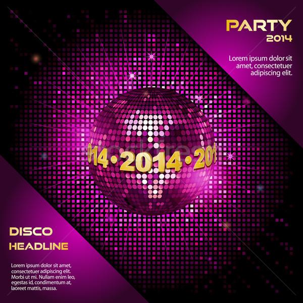 розовый Disco Ball 2014 вечеринка границе мозаика Сток-фото © elaine