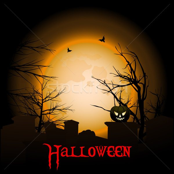 Halloween background with moon graveyard and text Stock photo © elaine
