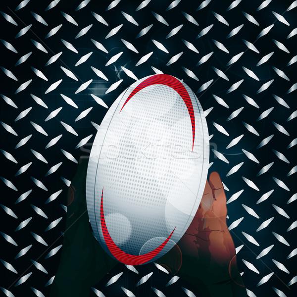 Rugby ball ręce metal czarny metaliczny diament Zdjęcia stock © elaine