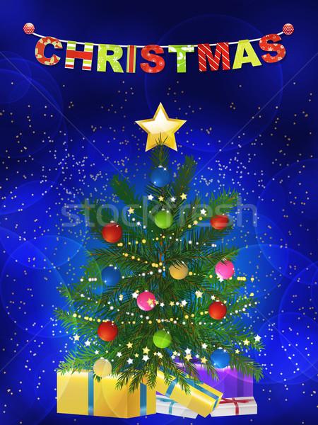 Christmas tree and presents blue background Stock photo © elaine