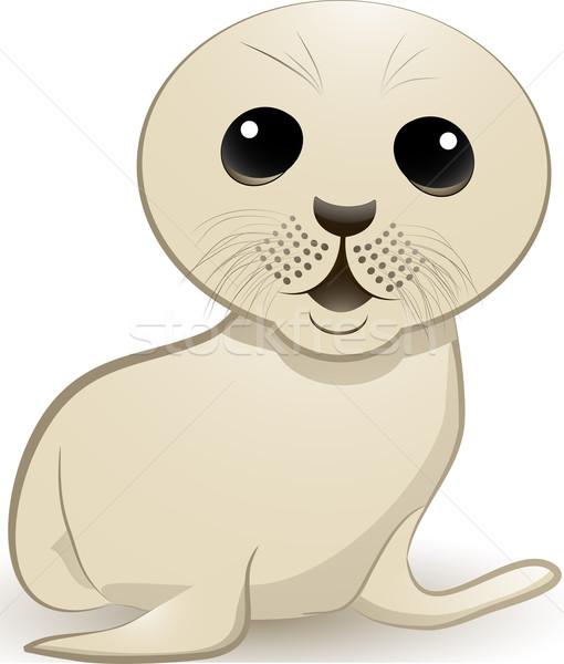 Zegel welp cute baby grote ogen dier Stockfoto © elaine