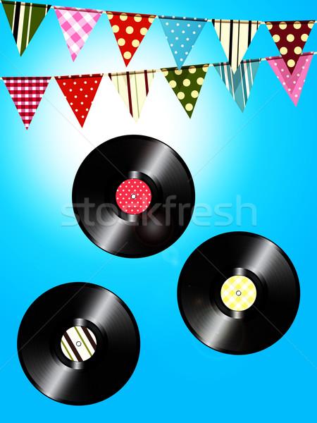 Vintage vinyle dossiers ensoleillée ciel trois Photo stock © elaine