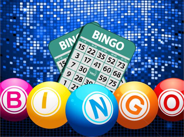 Bingo balls and cards on blue mosaic background Stock photo © elaine