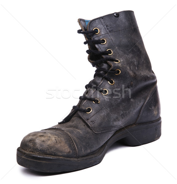 Isolated Used Army Boot - Inner Diagonal Stock photo © eldadcarin