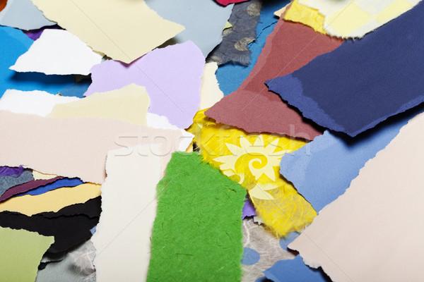 Kolorowy rozdarty papieru rozdarty sztuk papieru Zdjęcia stock © eldadcarin