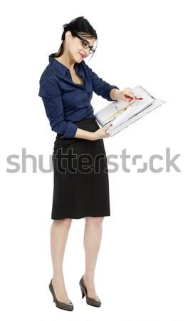 Business Woman Presenting Document Stock photo © eldadcarin