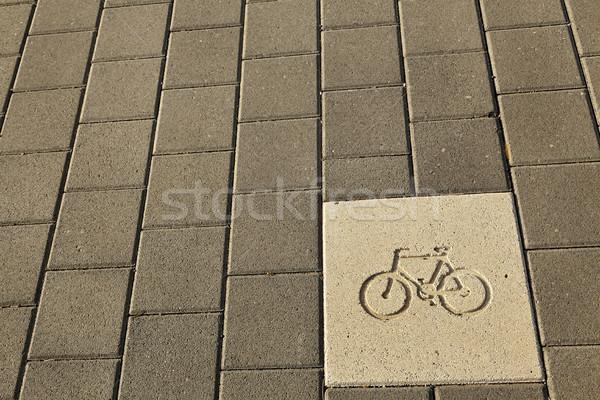 Fiets pad teken diagram gegraveerd trottoir Stockfoto © eldadcarin